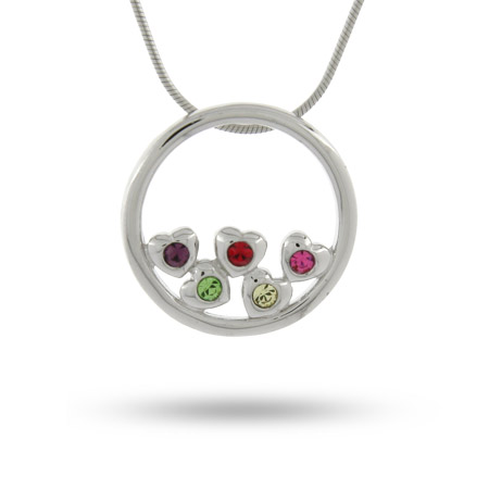 5 Stone Circle of Hearts Sterling Silver Birthstone Mother's Pendant