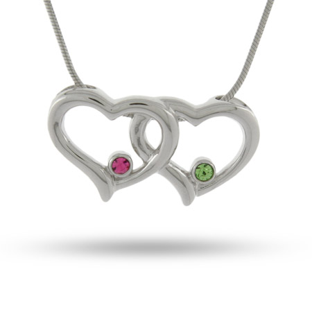 Joined Hearts Swarovski Crystal Couples Heart Pendant