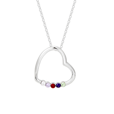 5 Stone Sterling Silver Crystal Heart Mother's Pendant