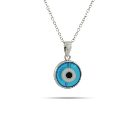 Sterling Silver Blue Evil Eye Pendant