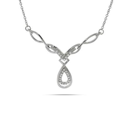 Braided Celtic Style Sterling Silver CZ Necklace