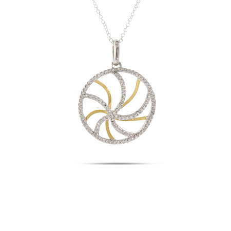 Designer Inspired Silver and Gold Vermeil CZ Swirl Necklace