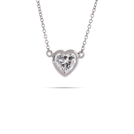 Sterling Silver Bezel CZ Heart Necklace