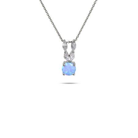 Stunning CZ and Opal Sterling Silver Pendant