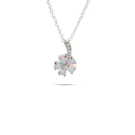 Sparkling Sterling Silver CZ and Opal Dangle Flower Pendant