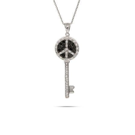 Black and White CZ Peace Sign Key Pendant