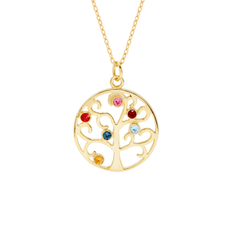 6 Stone Gold Vermeil Crystal Birthstone Family Tree Pendant