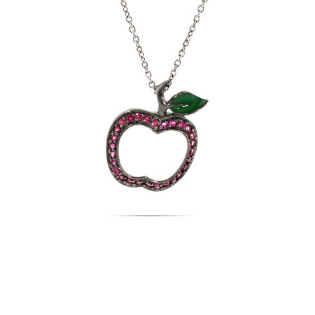 Sterling Silver Red CZ Apple Pendant