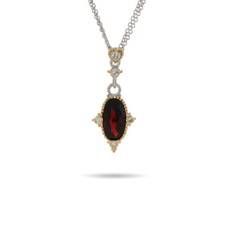Designer Inspired Oval Cut Vintage Garnet CZ Necklace