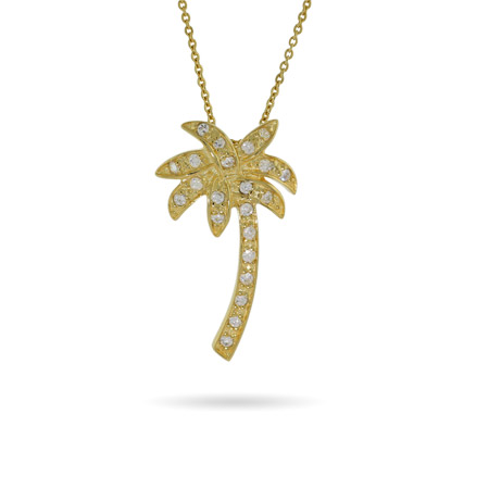 Tiffany Inspired Gold Vermeil CZ Palm Tree Pendant