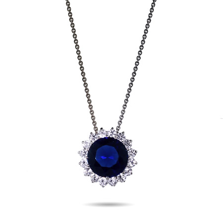 Princess Diana Inspired Sapphire Brilliant Round CZ Necklace