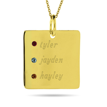 Close to the Heart Engravable Gold Vermeil 3 Stone Square Tag Pendant