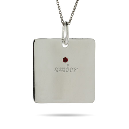 Close to the Heart 1 Stone Sterling Silver Square Tag Pendant