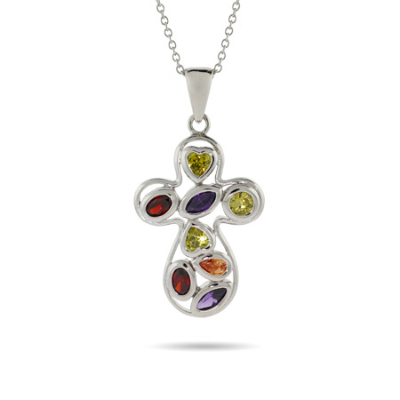 Designer Inspired Multi Colored CZ Cross Necklace