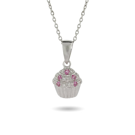 Cute Pink and Clear Pave CZ Silver Cupcake Necklace