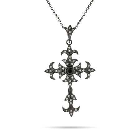 Black Rhodium CZ Gothic Cross Pendant