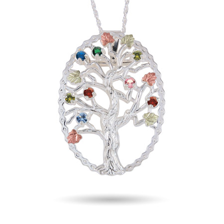 Black Hills Gold On Sterling Silver 8 Stone Genuine Birthstone Family Tree Pin/Pendant