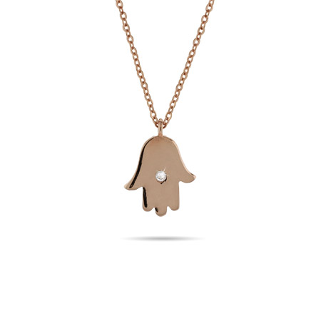 CZ Hamsa Pendant in Rose Gold Vermeil