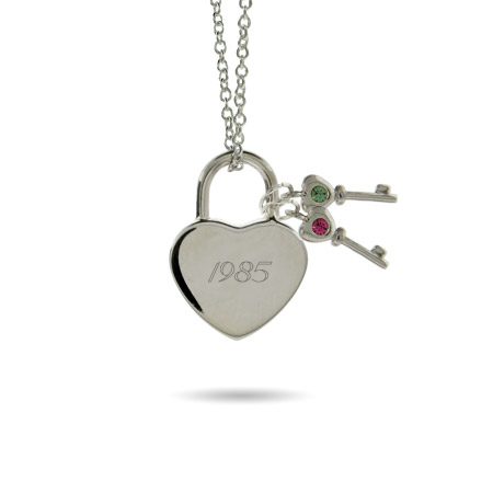 Austrian Crystal Locked Heart with 2 Birthstone Keys