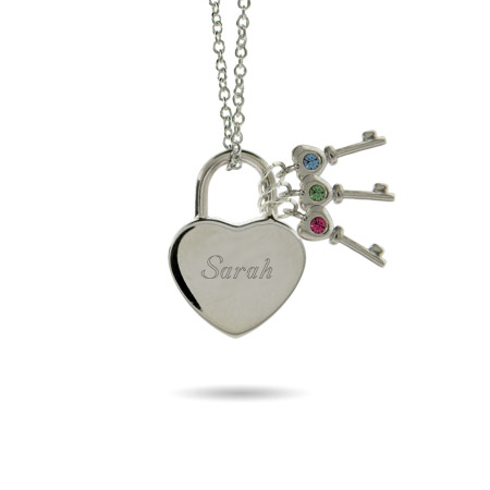 Austrian Crystal Locked Heart with 3 Birthstone Keys