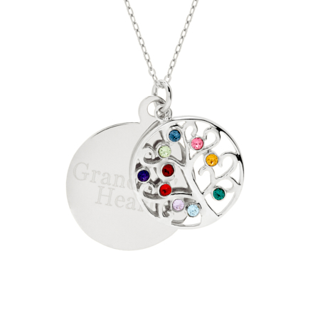 Engravable 10 Stone Crystal Family Tree Birthstone Pendant