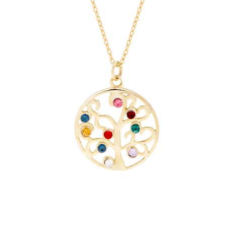 9 Stone Gold Vermeil Custom Birthstone Family Tree Pendant