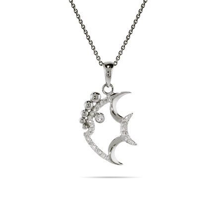 Sterling Silver and CZ Angelfish Pendant