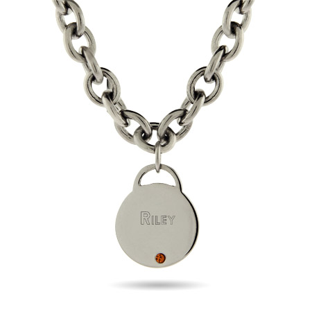 Close to the Heart Stainless Steel Birthstone Round Tag Necklace