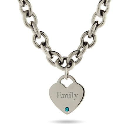 Close to the Heart Stainless Steel Heart Tag Birthstone Necklace