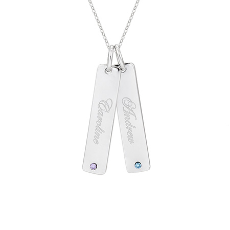 Close to the Heart Sterling Silver Double Birthstone Tag Pendant