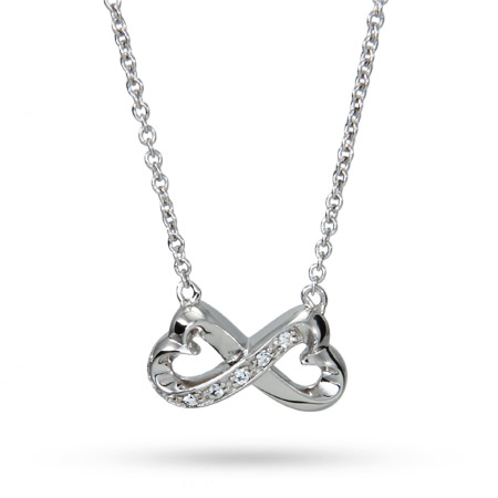 Sterling Silver CZ Infinity Hearts Necklace