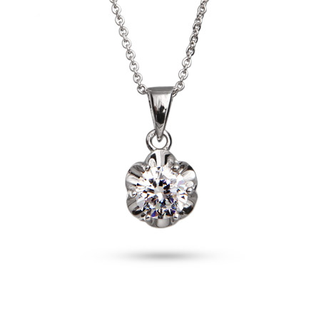 Stunning 1 Carat Prong Set Brilliant Cut CZ Pendant