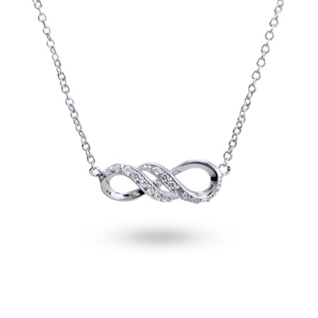 Elegant Sterling Silver CZ Infinity Necklace