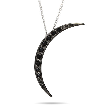Midnight Black CZ Twilight Crescent Moon Pendant