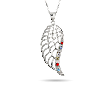 6 Stone Custom Birthstone Angel Wing Pendant