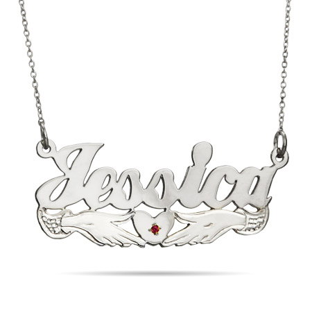 Sterling Silver Loving Hands Birthstone Nameplate Necklace