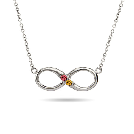 2 Stone Custom Sterling Silver Infinity Birthstone Necklace