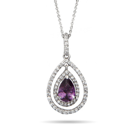 Designer Inspired Sparkling Pearcut Shape Amethyst CZ Necklace