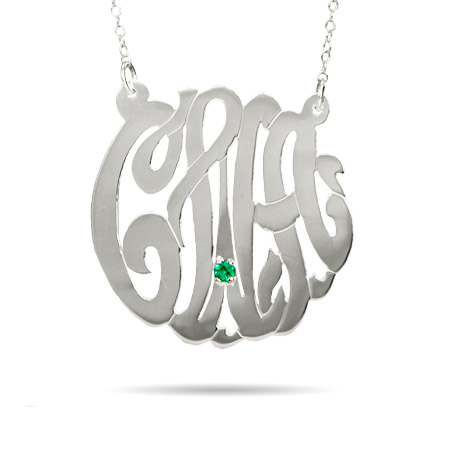 Sterling Silver Medium Custom Monogram Necklace with Birthstone