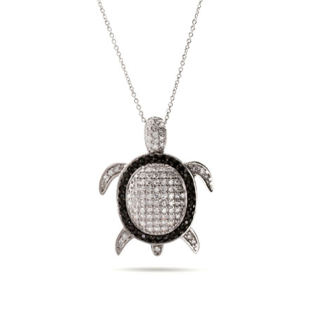 Sparkling Black and White CZ Sterling Silver Turtle Pendant