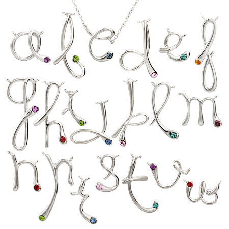 Tiffany Inspired Sterling Silver Custom Birthstone Initial Necklace
