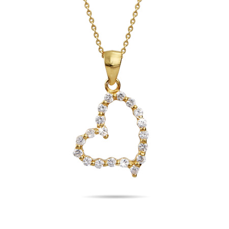 Brilliant Cut CZ Gold Vermeil Heart Pendant