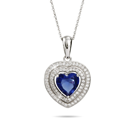 Sterling Silver Exquisite Micro CZ and Sapphire Heart Pendant