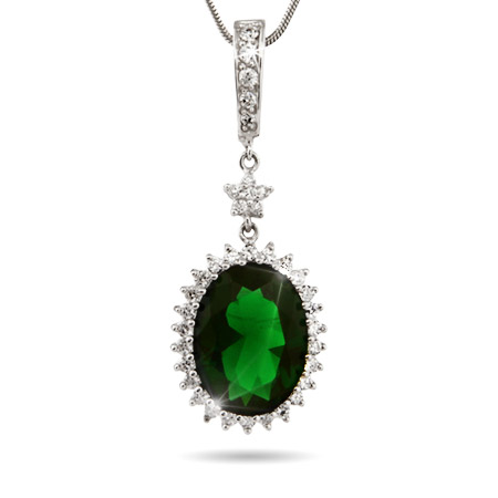 Dazzling Oval Cut Emerald Green CZ Pendant with Star Accent