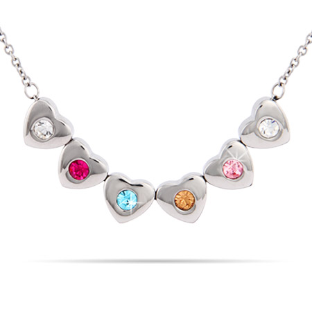 6 Stone Family of Hearts Custom Birthstone Necklace