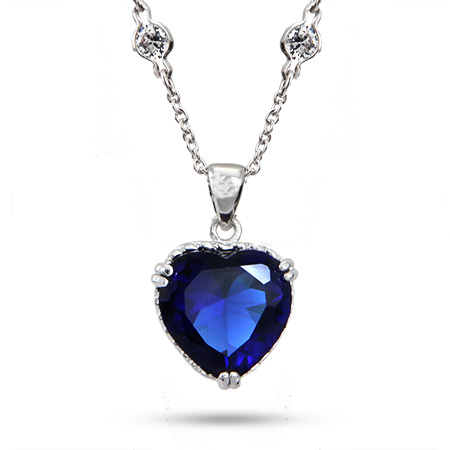 Heart of the Ocean Titanic Inspired Sapphire CZ Heart Necklace