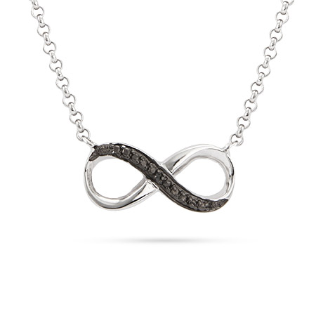 Sterling Silver Black CZ Infinity Necklace