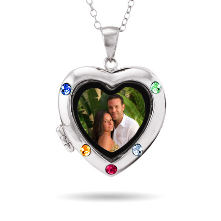 5 Stone Custom Birthstone Silver Photo Heart Locket