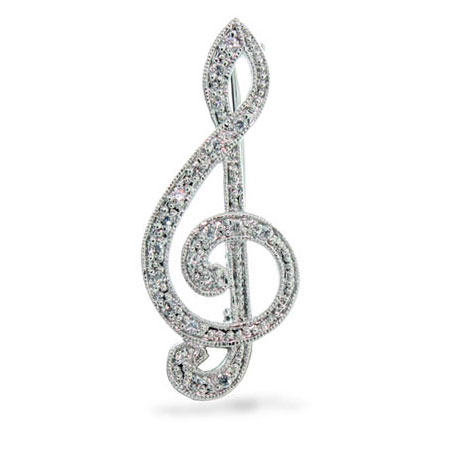 Sterling Silver Musical Diamond Cubic Zirconia Pin