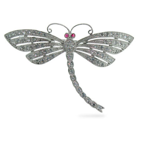 Diamond Cubic Zirconia Dragonfly Brooch in Sterling Silver